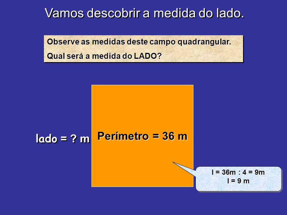 Vamos descobrir a medida do lado. Observe as medidas deste campo quadrangular. Qual será a medida do LADO? Observe as medidas deste campo quadrangular