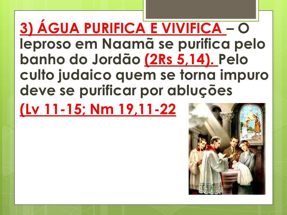 3) ÁGUA PURIFICA E VIVIFICA – O leproso em Naamã se purifica pelo banho do Jordão (2Rs 5,14). Pelo culto judaico quem se torna impuro deve se purifica