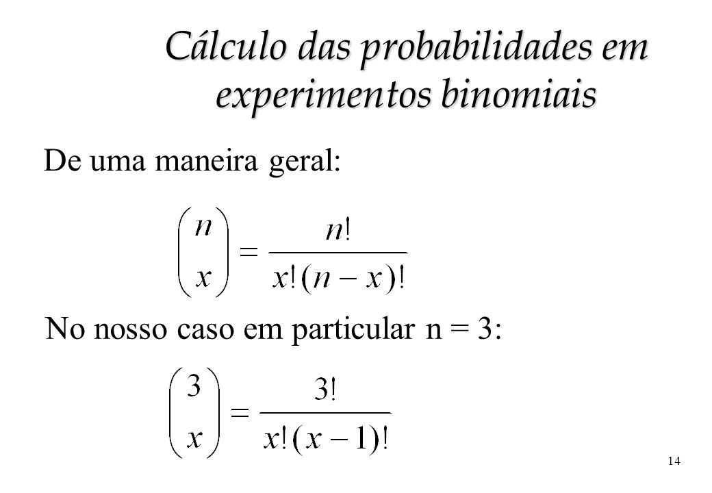 14 De uma maneira geral: No nosso caso em particular n = 3: Cálculo das probabilidades em experimentos binomiais