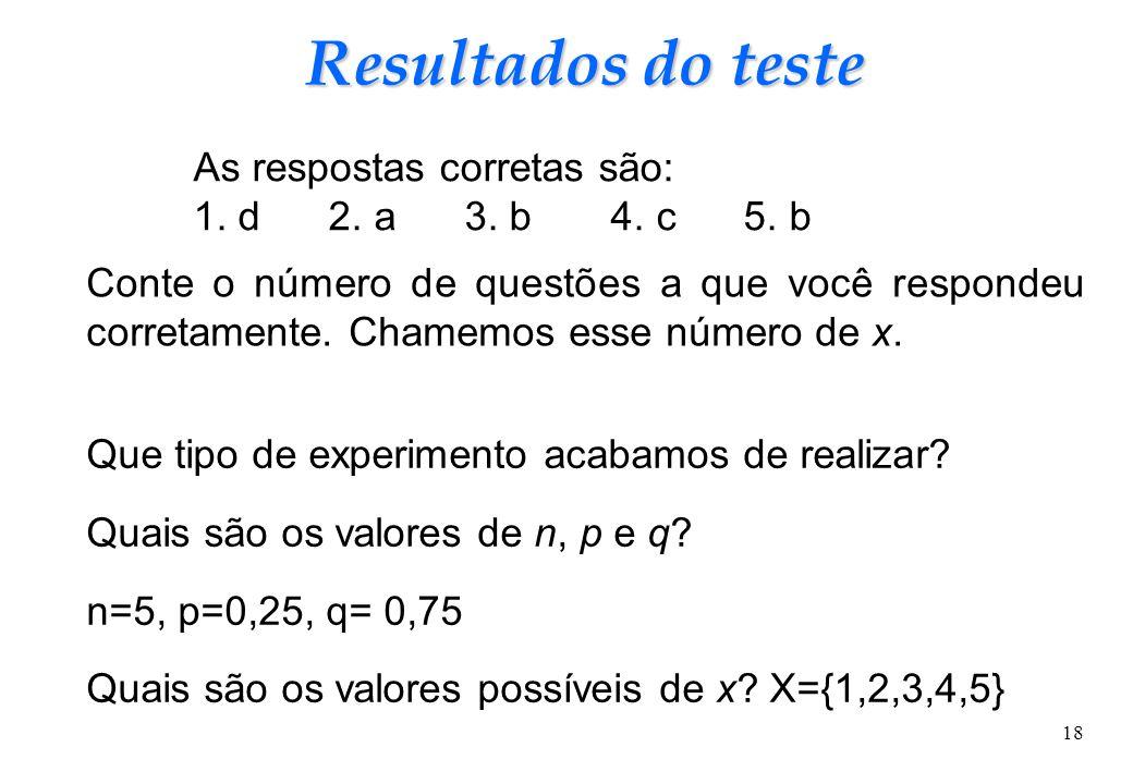 18 Resultados do teste Conte o número de questões a que você respondeu corretamente. Chamemos esse número de x. Que tipo de experimento acabamos de re