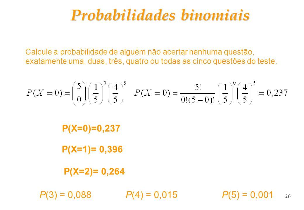 20 Probabilidades binomiais Calcule a probabilidade de alguém não acertar nenhuma questão, exatamente uma, duas, três, quatro ou todas as cinco questõ