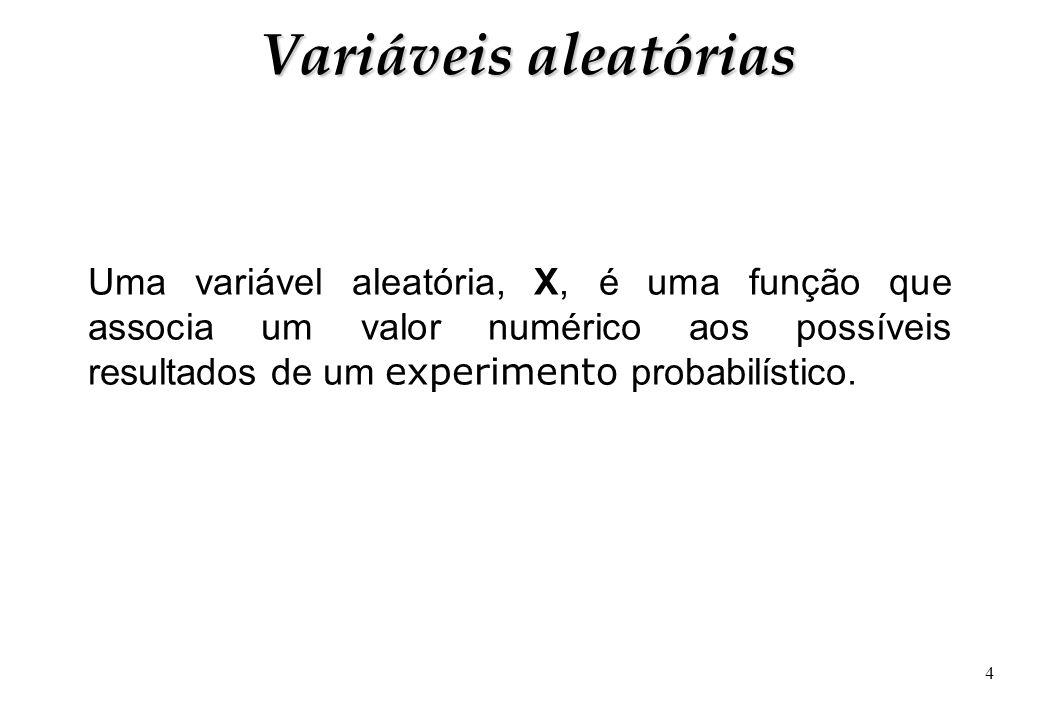 4 Uma variável aleatória, X, é uma função que associa um valor numérico aos possíveis resultados de um experimento probabilístico. Variáveis aleatória