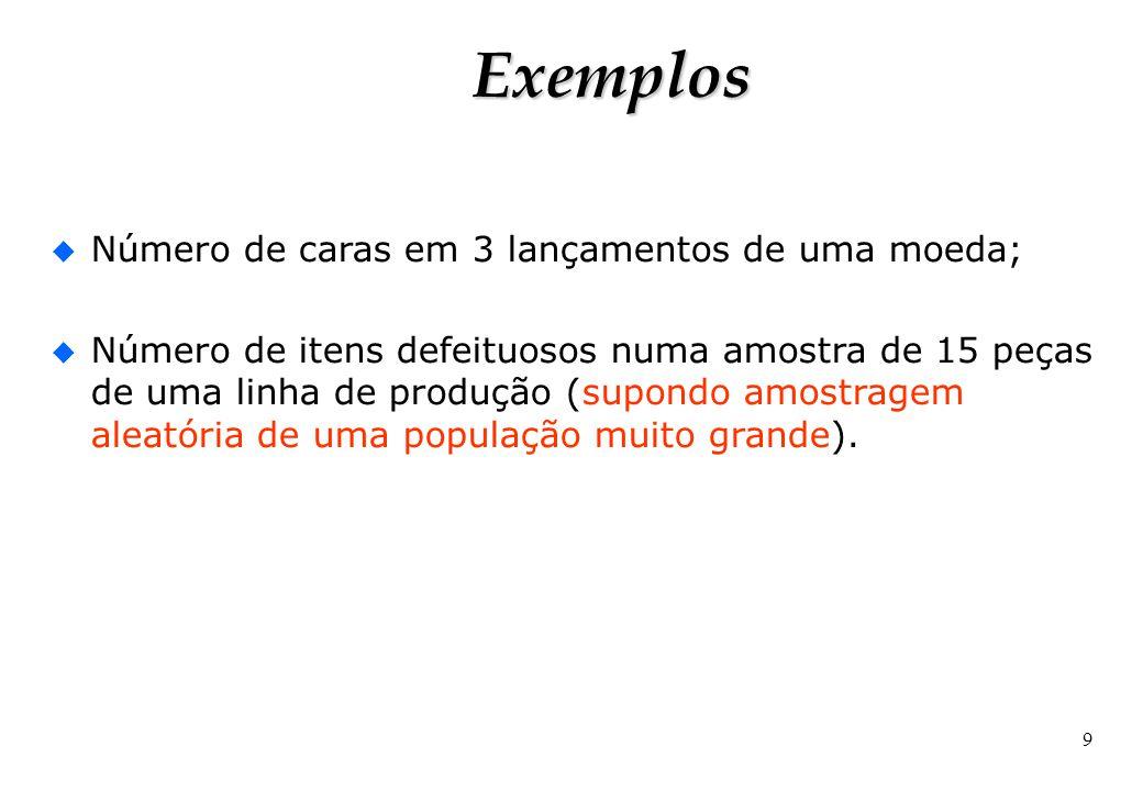 9 Exemplos u Número de caras em 3 lançamentos de uma moeda; u Número de itens defeituosos numa amostra de 15 peças de uma linha de produção (supondo a
