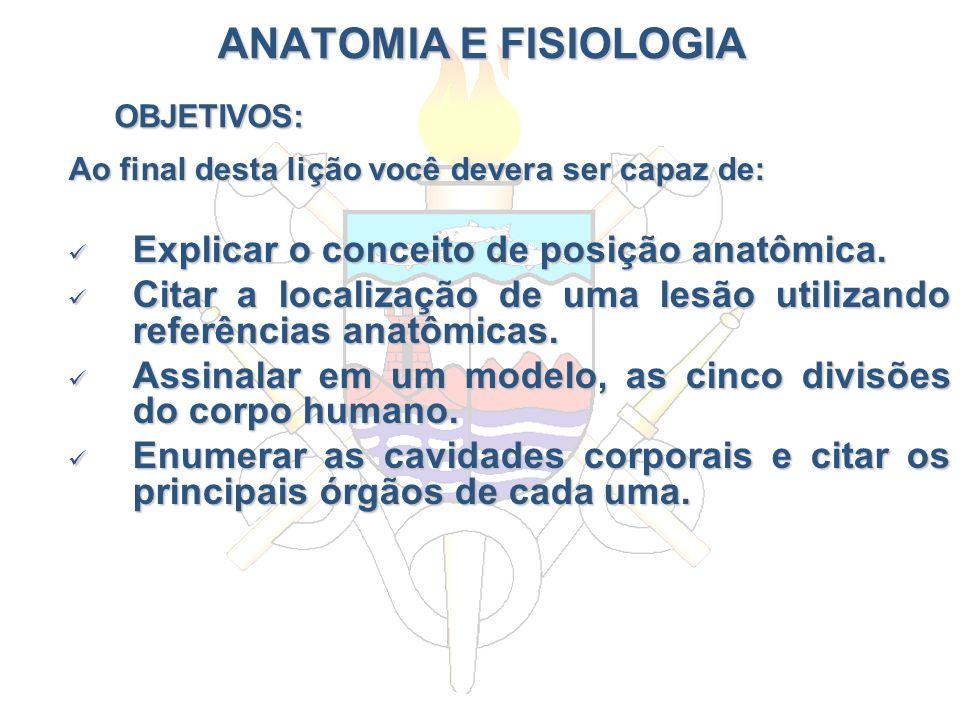 ANATOMIA E FISIOLOGIA Ao final desta lição você devera ser capaz de: Explicar o conceito de posição anatômica. Explicar o conceito de posição anatômic