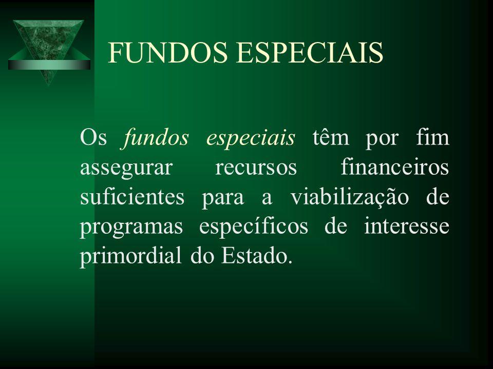 FUNDOS ESPECIAIS Os fundos especiais têm por fim assegurar recursos financeiros suficientes para a viabilização de programas específicos de interesse