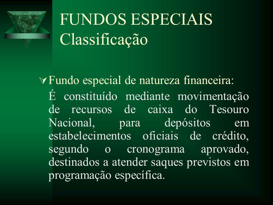 FUNDOS ESPECIAIS Classificação Fundo especial de natureza financeira: É constituído mediante movimentação de recursos de caixa do Tesouro Nacional, pa