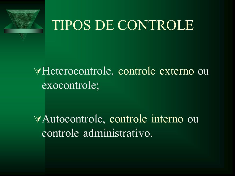 TIPOS DE CONTROLE Heterocontrole, controle externo ou exocontrole; Autocontrole, controle interno ou controle administrativo.
