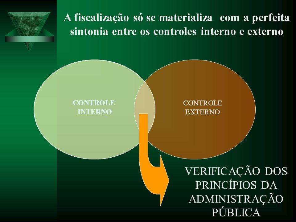 CONTROLE EXTERNO A fiscalização só se materializa com a perfeita sintonia entre os controles interno e externo VERIFICAÇÃO DOS PRINCÍPIOS DA ADMINISTR