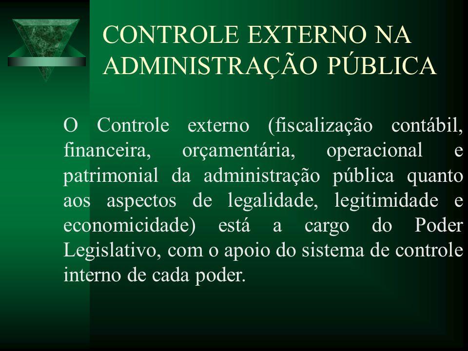 CONTROLE EXTERNO NA ADMINISTRAÇÃO PÚBLICA O Controle externo (fiscalização contábil, financeira, orçamentária, operacional e patrimonial da administra