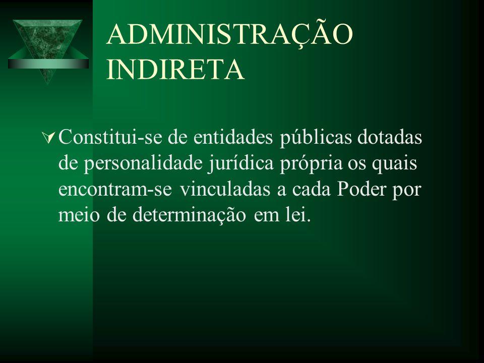 ADMINISTRAÇÃO INDIRETA Constitui-se de entidades públicas dotadas de personalidade jurídica própria os quais encontram-se vinculadas a cada Poder por