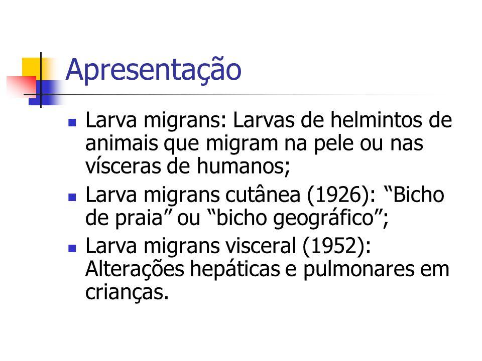 Apresentação Larva migrans: Larvas de helmintos de animais que migram na pele ou nas vísceras de humanos; Larva migrans cutânea (1926): Bicho de praia ou bicho geográfico; Larva migrans visceral (1952): Alterações hepáticas e pulmonares em crianças.
