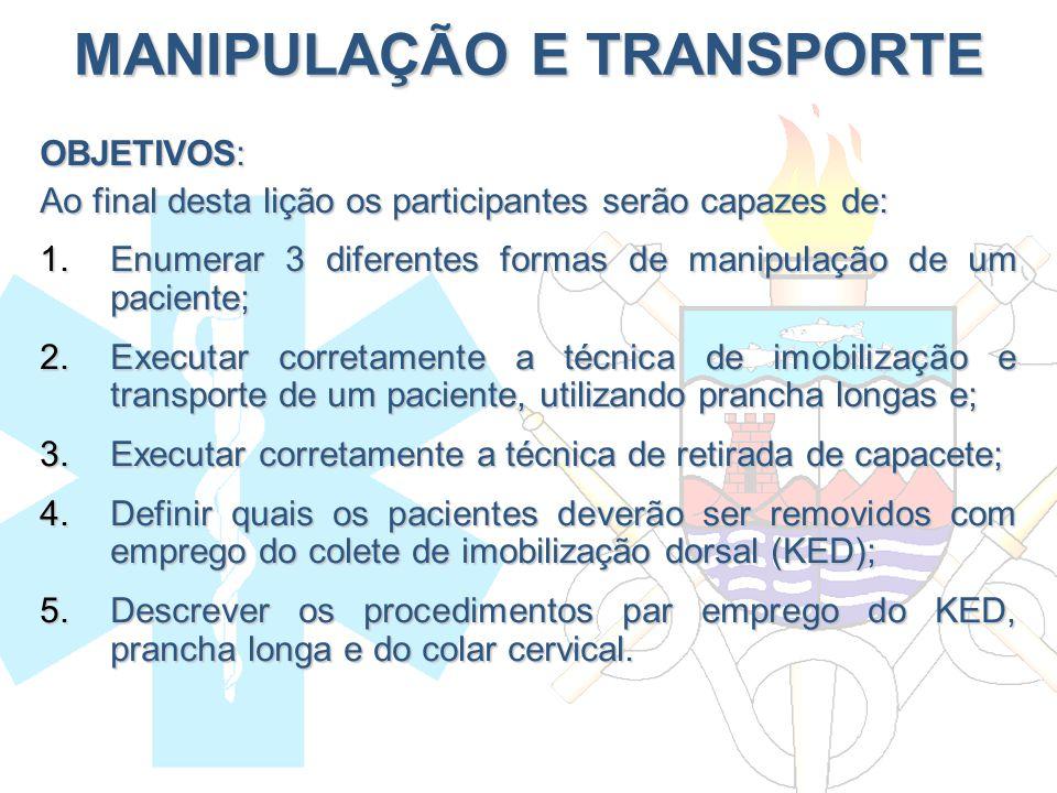 MANIPULAÇÃO E TRANSPORTE OBJETIVOS: Ao final desta lição os participantes serão capazes de: 1.Enumerar 3 diferentes formas de manipulação de um pacien