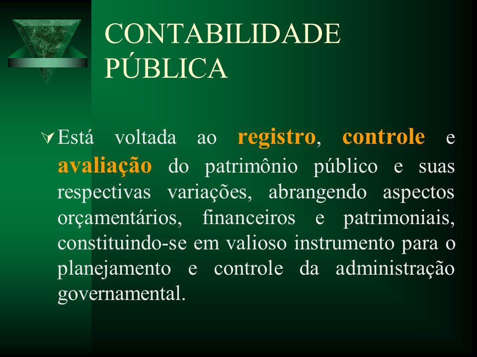 CONTABILIDADE PÚBLICA Está voltada ao registro, controle e avaliação do patrimônio público e suas respectivas variações, abrangendo aspectos orçamentá