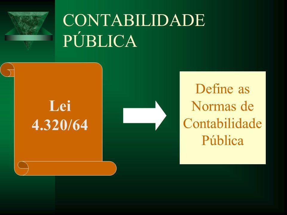 CONTABILIDADE PÚBLICA Lei 4.320/64 Define as Normas de Contabilidade Pública