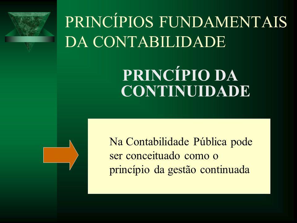 PRINCÍPIOS FUNDAMENTAIS DA CONTABILIDADE PRINCÍPIO DA OPORTUNIDADE Perfeitamente aplicável à Contabilidade Pública.