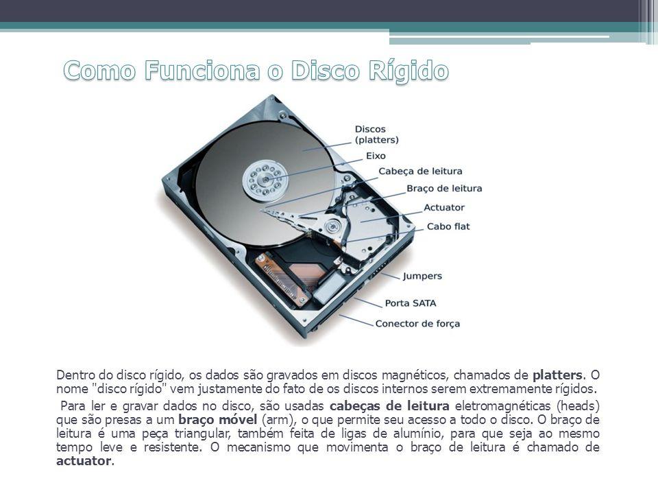 Dentro do disco rígido, os dados são gravados em discos magnéticos, chamados de platters. O nome