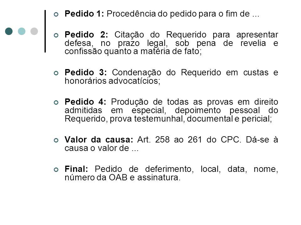 Pedido 1: Procedência do pedido para o fim de... Pedido 2: Citação do Requerido para apresentar defesa, no prazo legal, sob pena de revelia e confissã