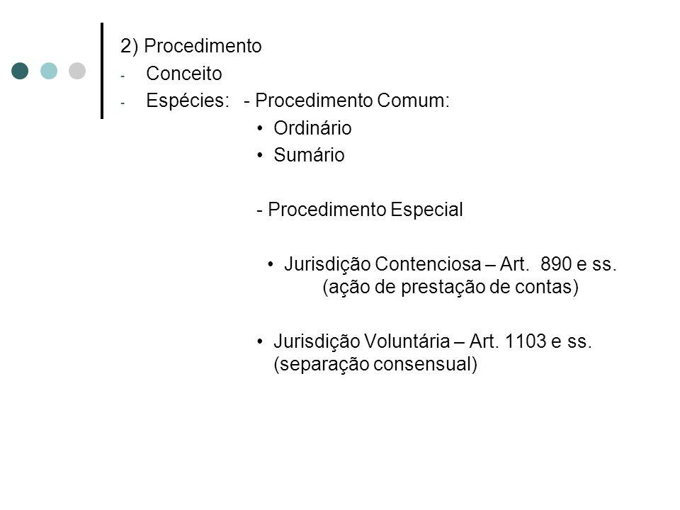 2) Procedimento - Conceito - Espécies: - Procedimento Comum: Ordinário Sumário - Procedimento Especial Jurisdição Contenciosa – Art. 890 e ss. (ação d