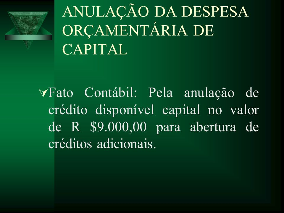 ANULAÇÃO DA DESPESA ORÇAMENTÁRIA DE CAPITAL Fato Contábil: Pela anulação de crédito disponível capital no valor de R $9.000,00 para abertura de crédit