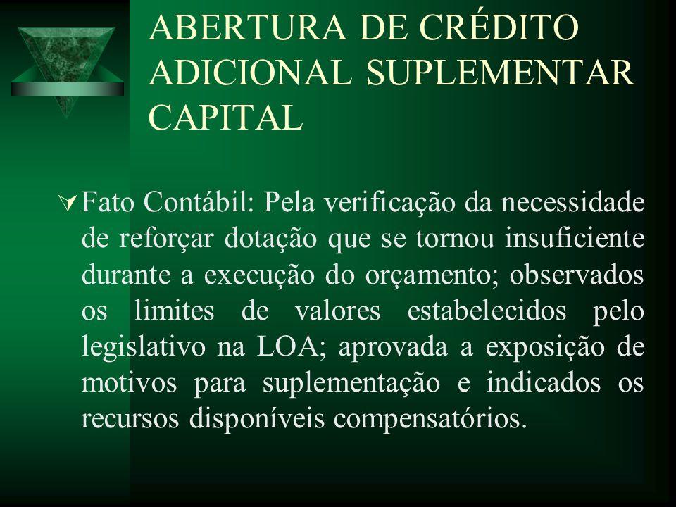 ABERTURA DE CRÉDITO ADICIONAL SUPLEMENTAR CAPITAL Fato Contábil: Pela verificação da necessidade de reforçar dotação que se tornou insuficiente durant