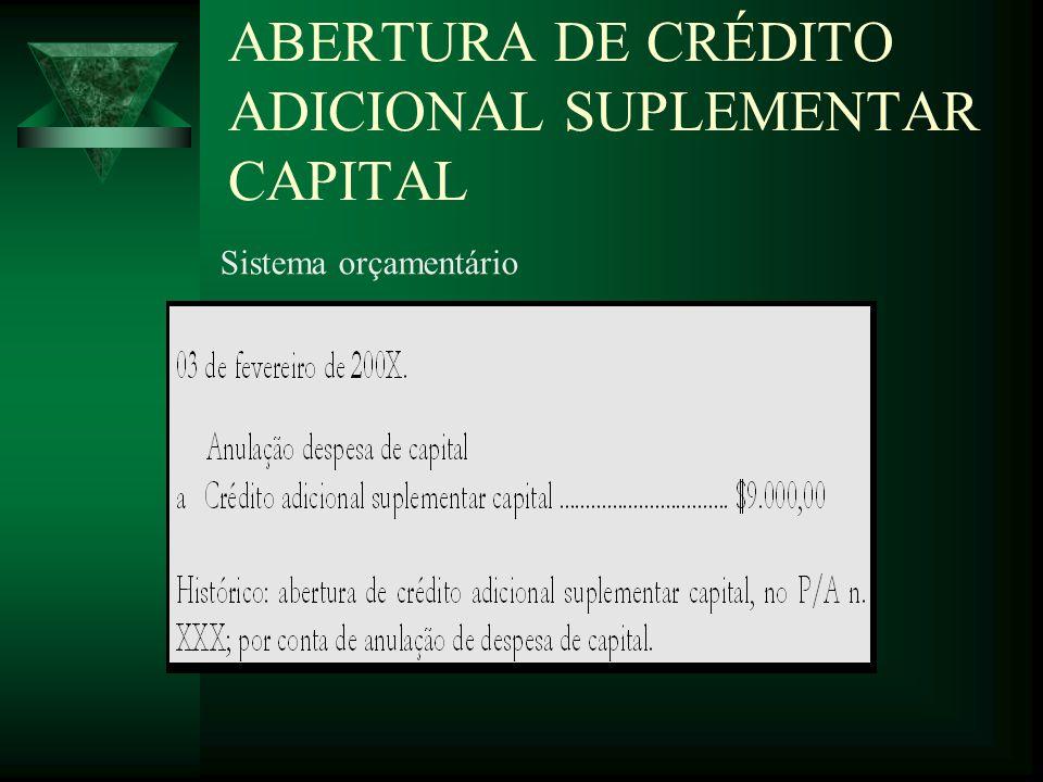 ABERTURA DE CRÉDITO ADICIONAL SUPLEMENTAR CAPITAL Sistema orçamentário
