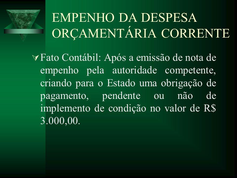EMPENHO DA DESPESA ORÇAMENTÁRIA CORRENTE Fato Contábil: Após a emissão de nota de empenho pela autoridade competente, criando para o Estado uma obriga
