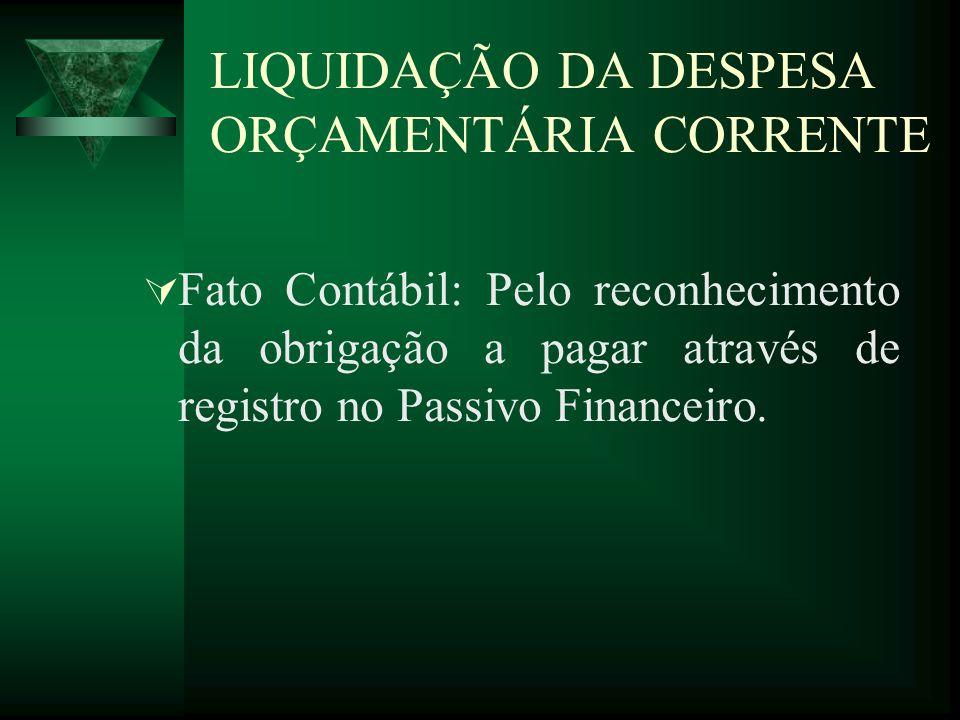 LIQUIDAÇÃO DA DESPESA ORÇAMENTÁRIA CORRENTE Fato Contábil: Pelo reconhecimento da obrigação a pagar através de registro no Passivo Financeiro.