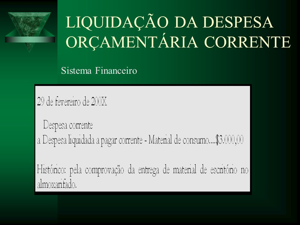 LIQUIDAÇÃO DA DESPESA ORÇAMENTÁRIA CORRENTE Sistema Financeiro
