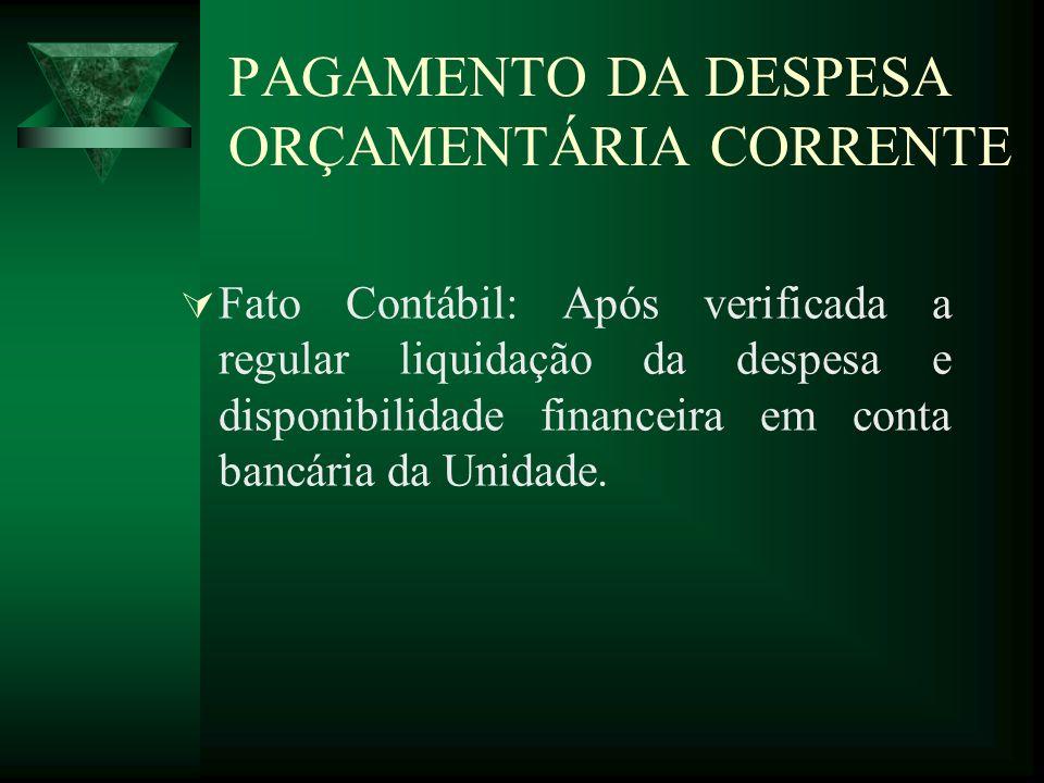 PAGAMENTO DA DESPESA ORÇAMENTÁRIA CORRENTE Fato Contábil: Após verificada a regular liquidação da despesa e disponibilidade financeira em conta bancár