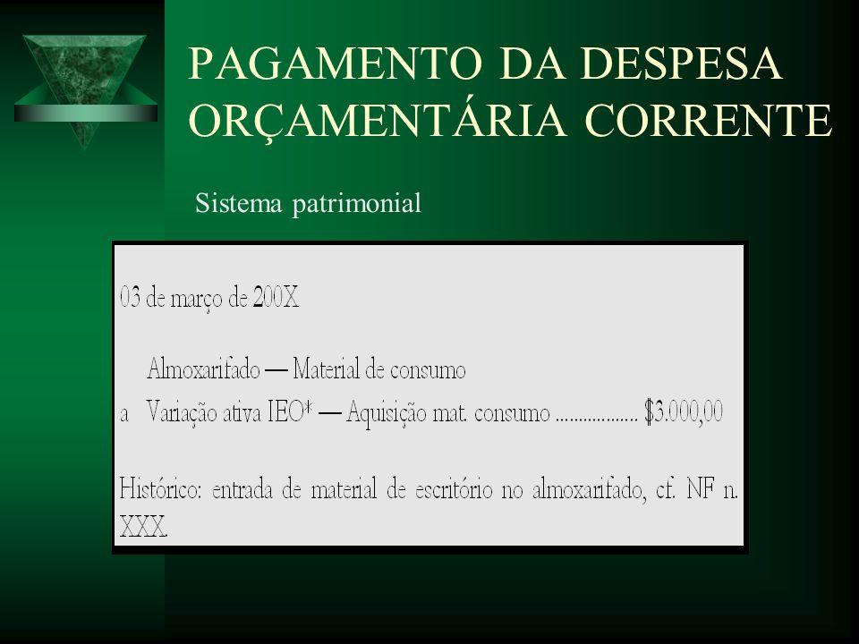 PAGAMENTO DA DESPESA ORÇAMENTÁRIA CORRENTE Sistema patrimonial