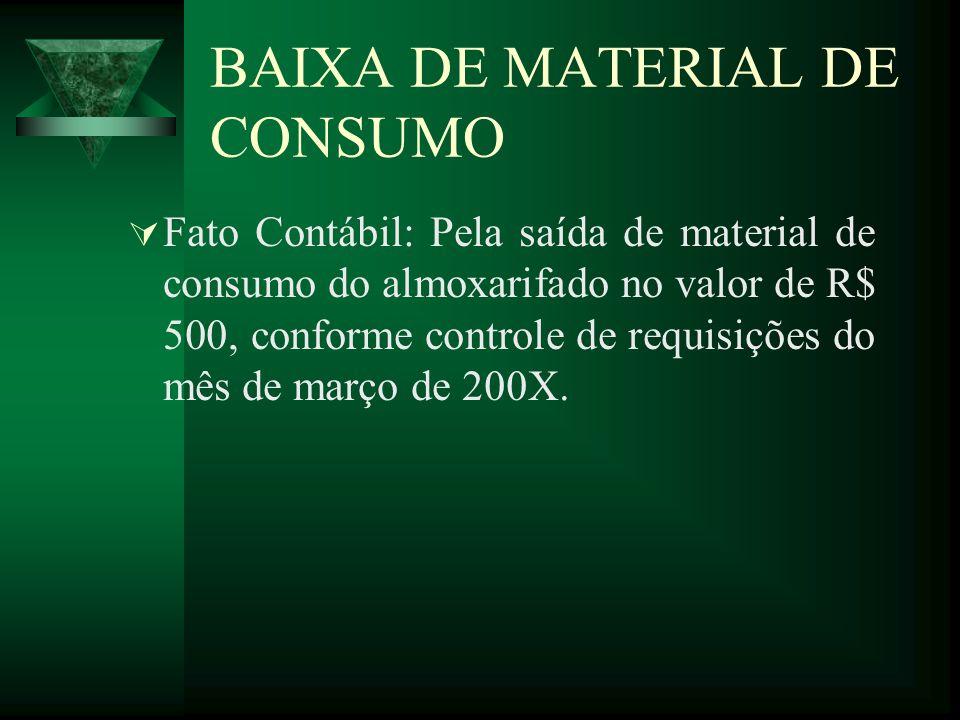 BAIXA DE MATERIAL DE CONSUMO Fato Contábil: Pela saída de material de consumo do almoxarifado no valor de R$ 500, conforme controle de requisições do