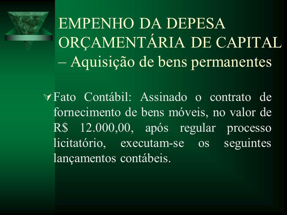 EMPENHO DA DEPESA ORÇAMENTÁRIA DE CAPITAL – Aquisição de bens permanentes Fato Contábil: Assinado o contrato de fornecimento de bens móveis, no valor