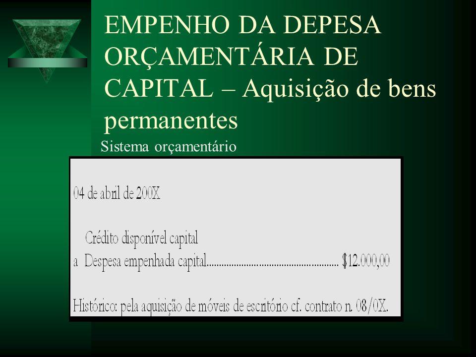 EMPENHO DA DEPESA ORÇAMENTÁRIA DE CAPITAL – Aquisição de bens permanentes Sistema orçamentário