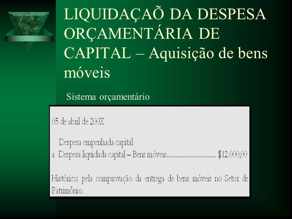 LIQUIDAÇAÕ DA DESPESA ORÇAMENTÁRIA DE CAPITAL – Aquisição de bens móveis Sistema orçamentário