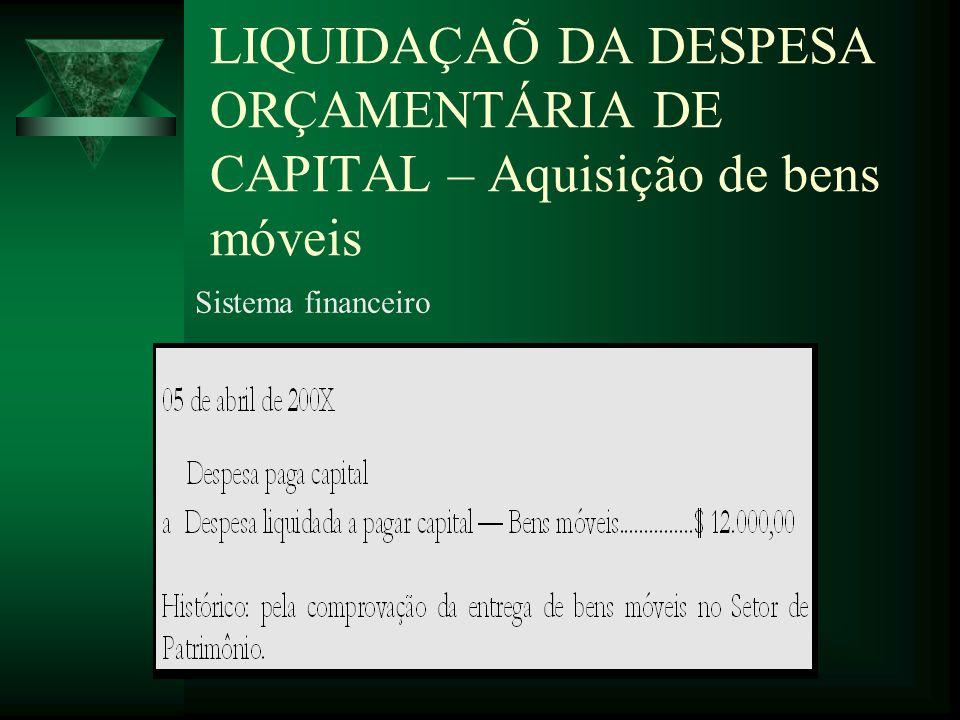 LIQUIDAÇAÕ DA DESPESA ORÇAMENTÁRIA DE CAPITAL – Aquisição de bens móveis Sistema financeiro
