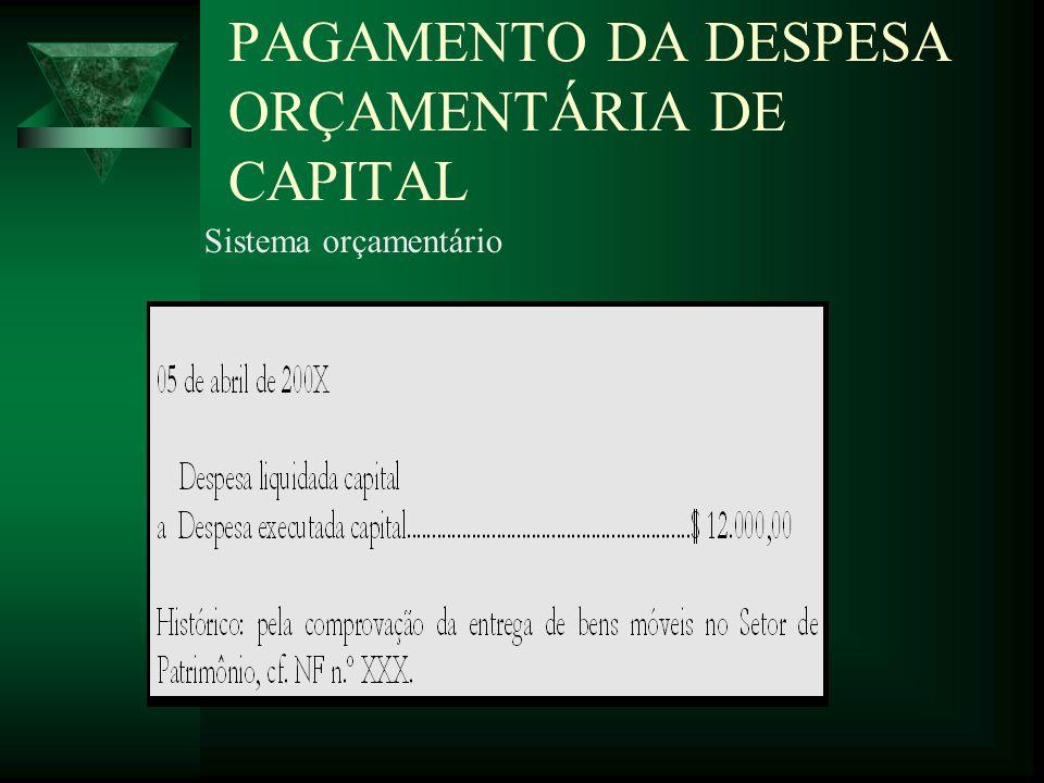 PAGAMENTO DA DESPESA ORÇAMENTÁRIA DE CAPITAL Sistema orçamentário