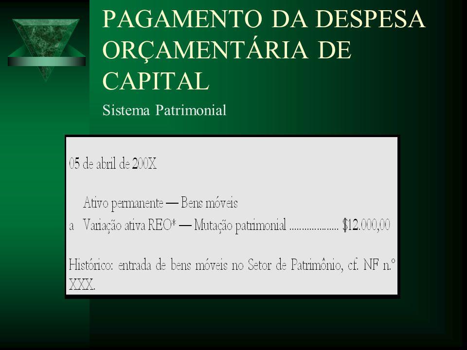 PAGAMENTO DA DESPESA ORÇAMENTÁRIA DE CAPITAL Sistema Patrimonial
