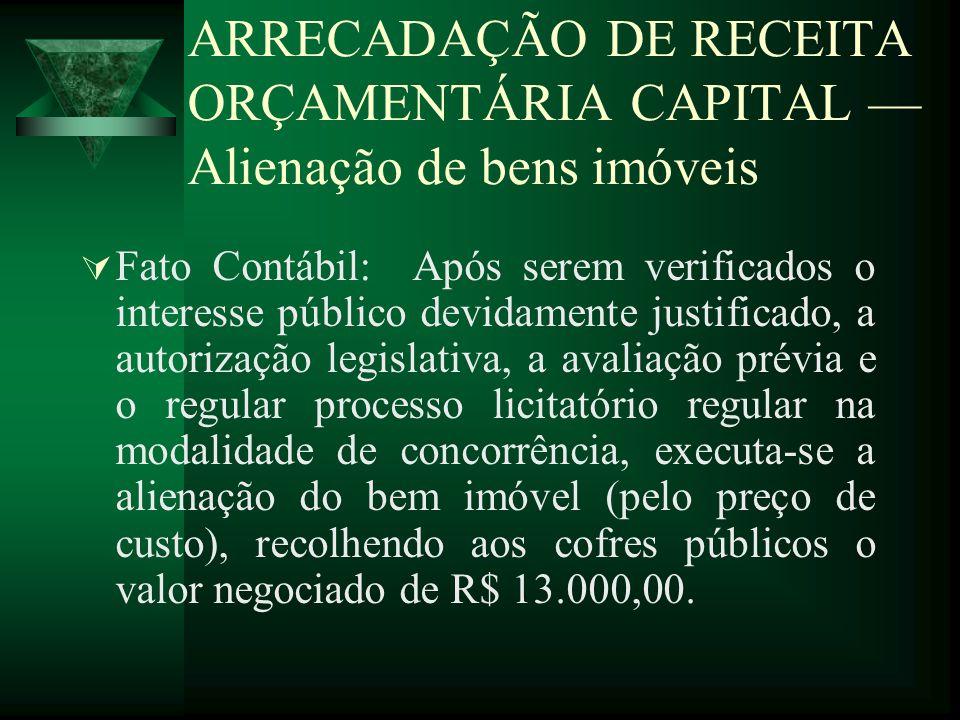 ARRECADAÇÃO DE RECEITA ORÇAMENTÁRIA CAPITAL Alienação de bens imóveis Fato Contábil: Após serem verificados o interesse público devidamente justificad