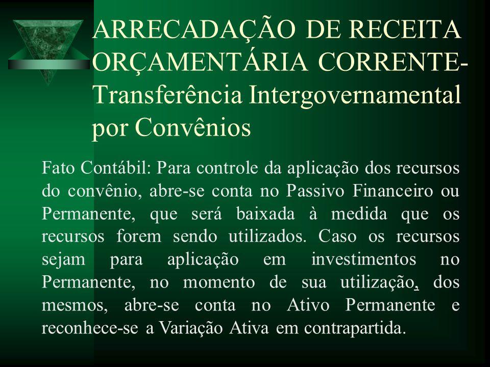 ARRECADAÇÃO DE RECEITA ORÇAMENTÁRIA CORRENTE- Transferência Intergovernamental por Convênios Fato Contábil: Para controle da aplicação dos recursos do