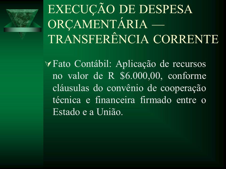 EXECUÇÃO DE DESPESA ORÇAMENTÁRIA TRANSFERÊNCIA CORRENTE Fato Contábil: Aplicação de recursos no valor de R $6.000,00, conforme cláusulas do convênio d