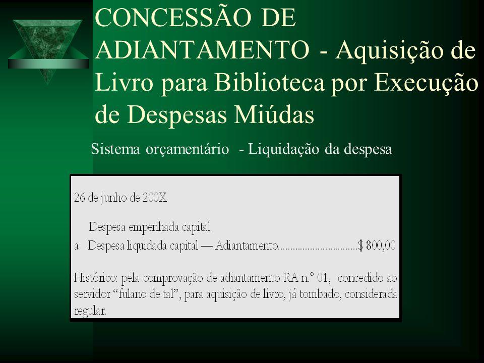 CONCESSÃO DE ADIANTAMENTO - Aquisição de Livro para Biblioteca por Execução de Despesas Miúdas Sistema orçamentário - Liquidação da despesa
