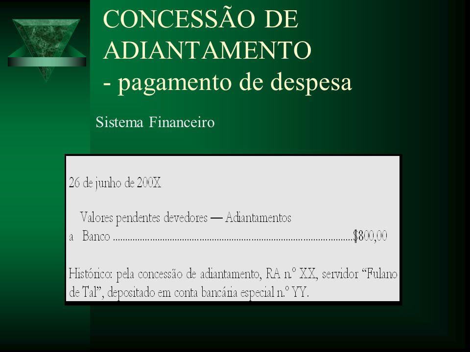 CONCESSÃO DE ADIANTAMENTO - pagamento de despesa Sistema Financeiro