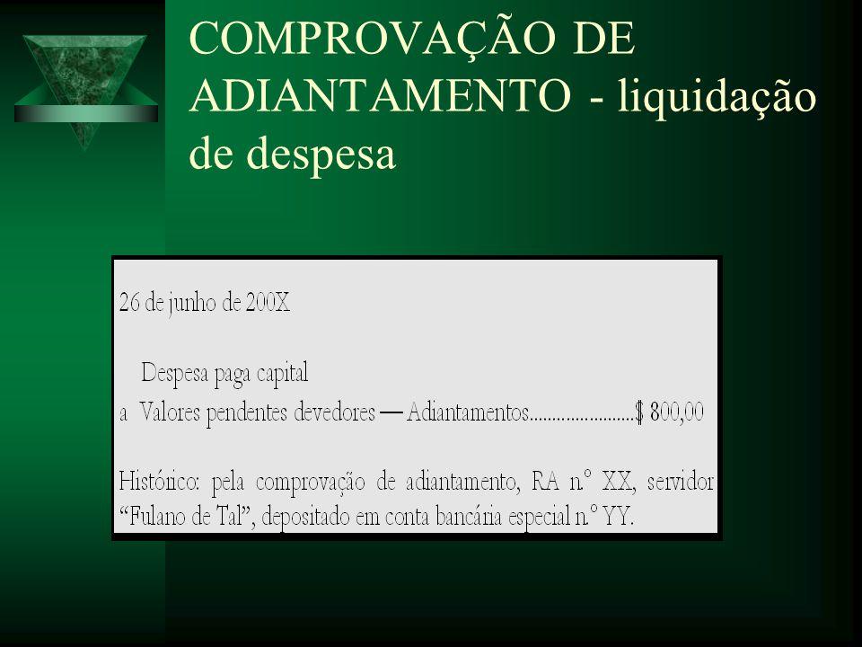 COMPROVAÇÃO DE ADIANTAMENTO - liquidação de despesa