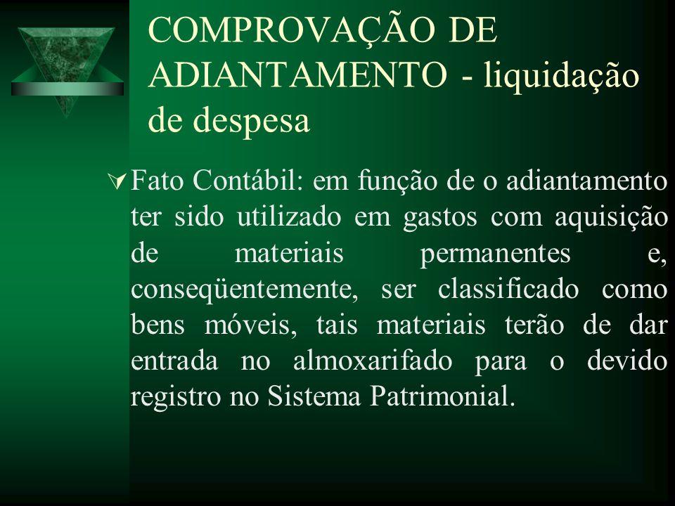 Fato Contábil: em função de o adiantamento ter sido utilizado em gastos com aquisição de materiais permanentes e, conseqüentemente, ser classificado c