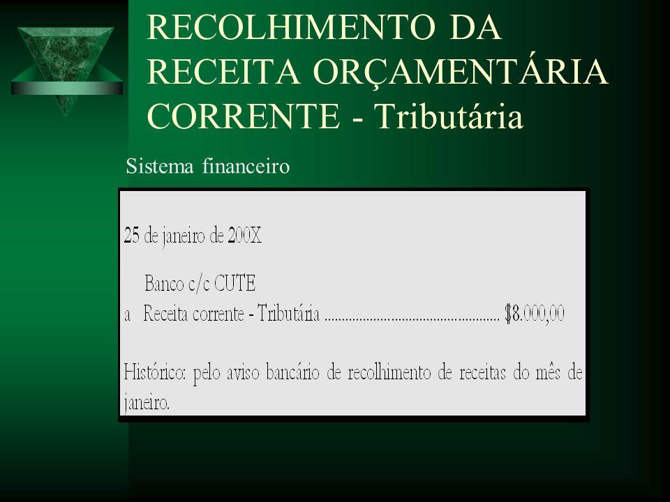RECOLHIMENTO DA RECEITA ORÇAMENTÁRIA CORRENTE - Tributária Sistema financeiro