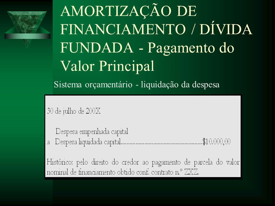 AMORTIZAÇÃO DE FINANCIAMENTO / DÍVIDA FUNDADA - Pagamento do Valor Principal Sistema orçamentário - liquidação da despesa