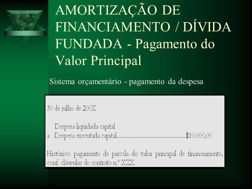 AMORTIZAÇÃO DE FINANCIAMENTO / DÍVIDA FUNDADA - Pagamento do Valor Principal Sistema orçamentário - pagamento da despesa