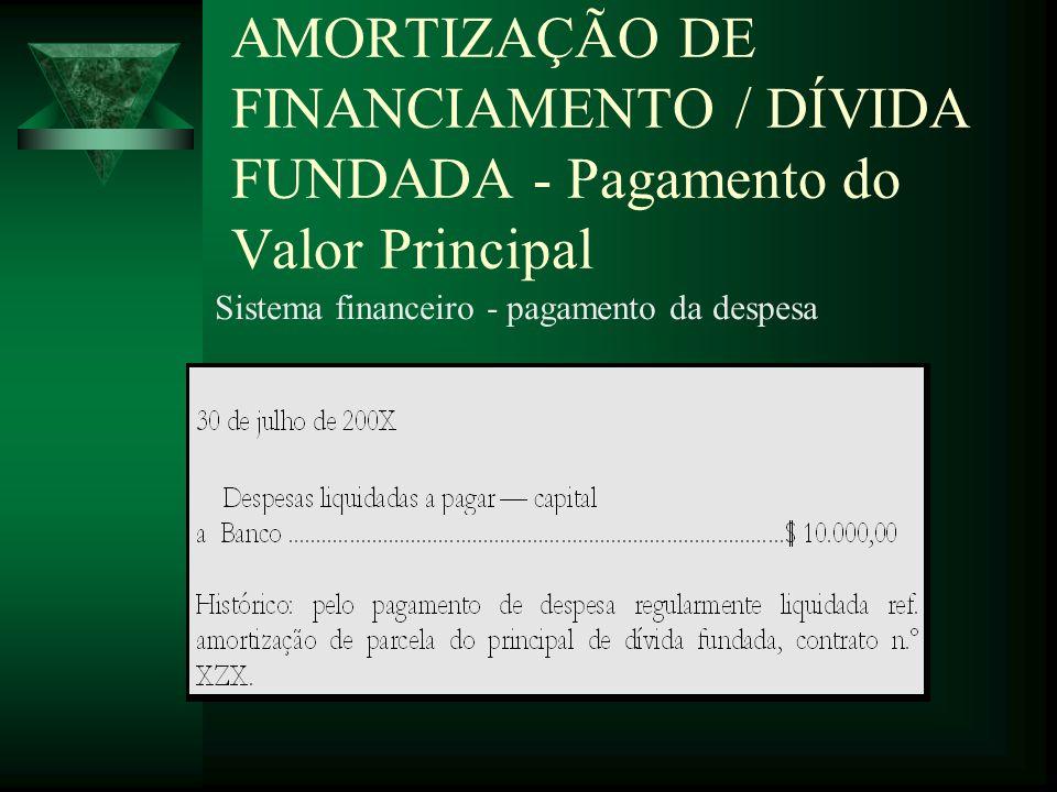 AMORTIZAÇÃO DE FINANCIAMENTO / DÍVIDA FUNDADA - Pagamento do Valor Principal Sistema financeiro - pagamento da despesa