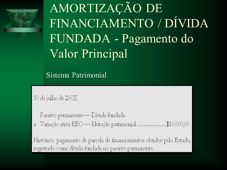 AMORTIZAÇÃO DE FINANCIAMENTO / DÍVIDA FUNDADA - Pagamento do Valor Principal Sistema Patrimonial