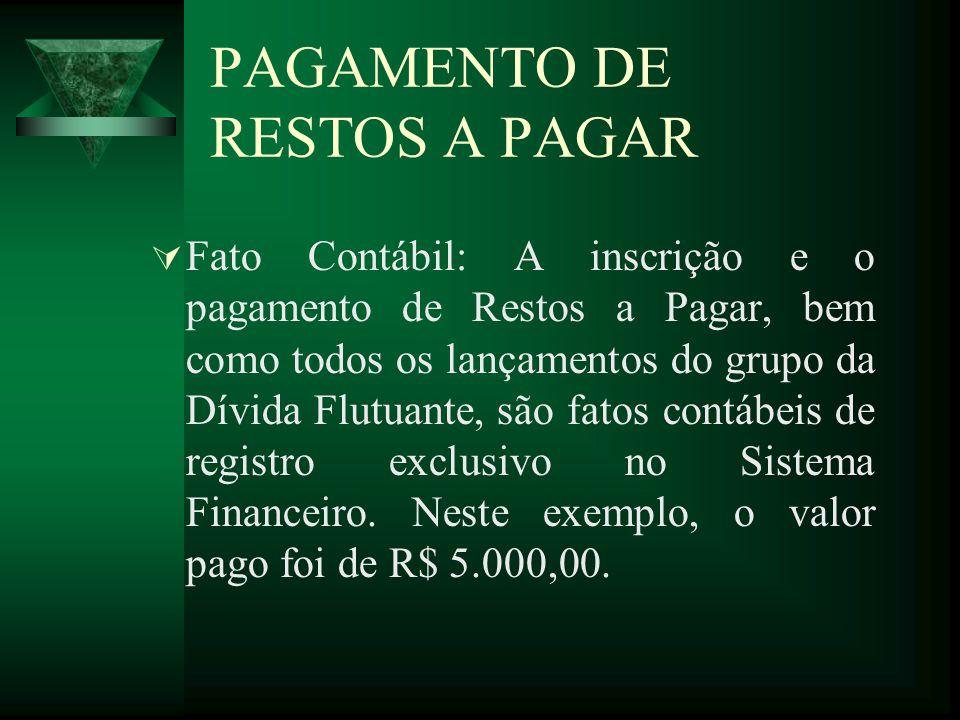 PAGAMENTO DE RESTOS A PAGAR Fato Contábil: A inscrição e o pagamento de Restos a Pagar, bem como todos os lançamentos do grupo da Dívida Flutuante, sã